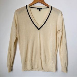 J Crew V-Neck Sweater Light Yellow XS Lightweight